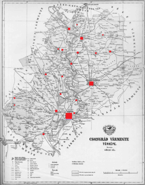 Csongrád County (former) - Ethnic map of the county with data of the 1910 census (see the key in the description).