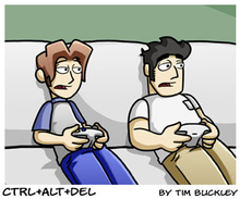 Two cartoon characters sit on a couch playing a console game