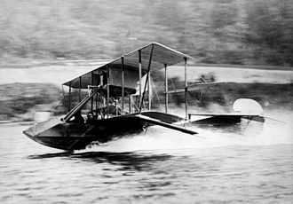 Curtiss Model F - Gustave Maurice Heckscher in his Curtiss seaplane at 60 miles per hour, 1912.