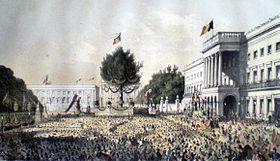 Décoration de la Place des Palais à Bruxelles, le 21 juillet 1856.