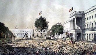 Belgian National Day - Crowds in front of the Royal Palace in Brussels, commemorating the not yet formalised celebration in 1856