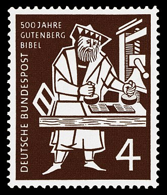 Global spread of the printing press - Modern stamp commemorating the Gutenberg Bible, the first major European work printed by mechanical movable type