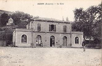 Aubin, Aveyron - An old postcard of Aubin station in the 1900s