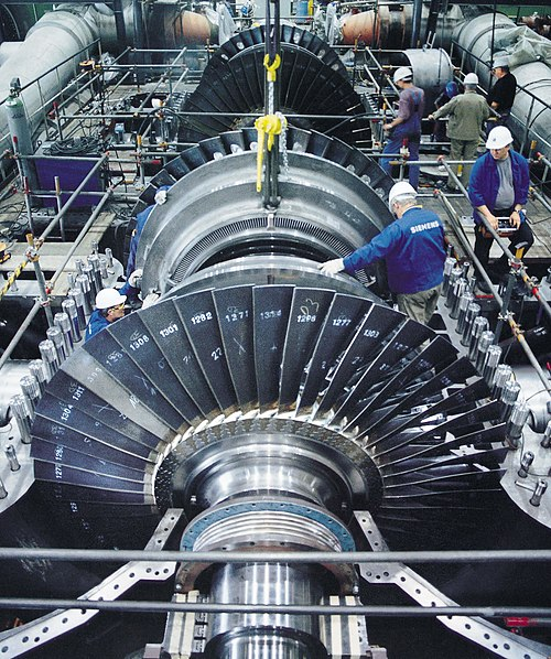 Mounting of a steam turbine produced by Siemens - Steam turbine
