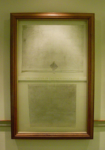 The Charter of Dartmouth College on display in Baker Memorial Library. The charter was signed on December 13, 1769, on behalf of King George III of Great Britain. Dartmouth College campus 2007-10-02 03 - Charter.jpg