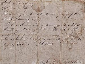 Davy Crockett - Contract of marriage for David Crockett and Margaret Elder, October 21, 1805