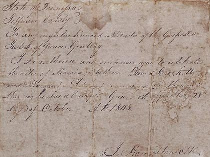 Davy Crockett marriage contract, October 1805