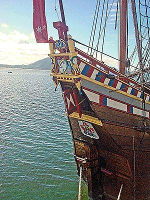 Duyfken - Decorated stern of the Duyfken replica in Cooktown harbour in 2009