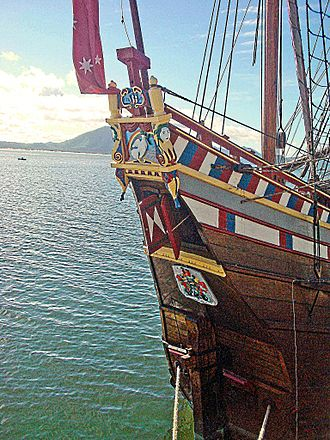 Duyfken - Decorated stern of the Duyfken replica in Cooktown harbour in 2009