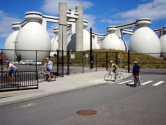 "Deer Island Waste Water Treatment Plant - Cyclists visiting ""egg"" digesters on Deer Island"