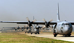 2d Airlift Squadron - C-130s taxiing at Pope Army Airfield