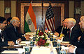 Defense.gov News Photo 100604-F-6655M-005 - Secretary of Defense Robert M. Gates talks with Indian National Security Advisor Shiv Shankar Menon during a bi-lateral meeting at the 9th.jpg