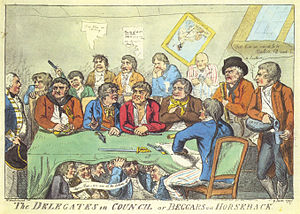 Spithead and Nore mutinies - The Delegates in Council, or beggars on horseback, a contemporaneous caricature.