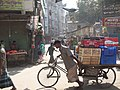 Delivery rickshaw in old Dhaka (8474601815).jpg