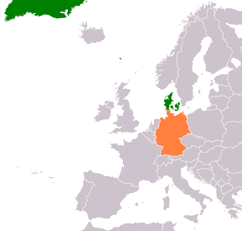 Map indicating locations of Denmark and Germany