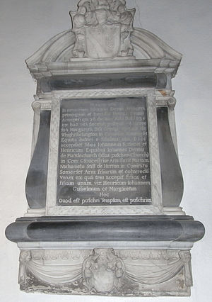 Pucklechurch - Slate memorial to John Dennis (d.1660) and his father Henry Dennis (d.1638). Pucklechurch Church, north aisle