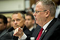 Deputy Defense Secretary Bob Work testifies on the fiscal year 2015 budget request for overseas contingency operations as Navy Adm. James A. Winnefeld Jr., vice chairman of the Joint Chiefs of Staff, looks on b 140716-D-KC128-222c.jpg