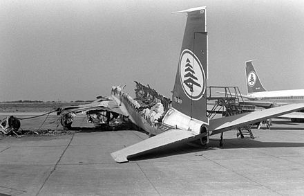A destroyed airliner at Beirut Airport, 1982. Destroyed MEA aircraft 1982.jpg