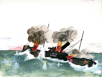 SMS Leopard (1912) - An amateur watercolour of the destruction of the German raider 'Leopard', disguised as the Norwegian 'Rena', 1917
