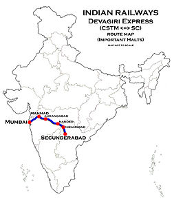 Devagiri Express Route map.jpg