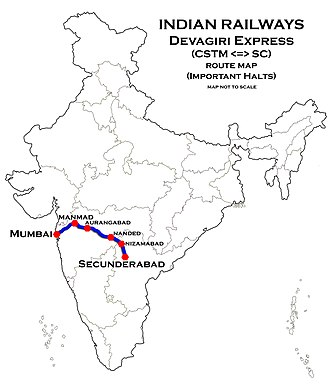 Devagiri Express - Image: Devagiri Express Route map