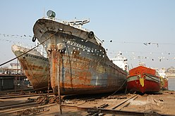 Dhaka - boats in shipyard at Buriganga River
