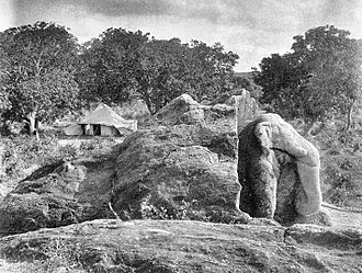 Dhauli - The Dhauli Major Rock Inscription of Ashoka. The front is shaped as an elephant. Dhauli, Puri District, India.
