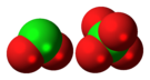 Space-filling model of the component ions of dichlorine hexoxide