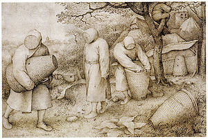Personal protective equipment - A 1568 painting depicting beekeepers in protective clothing