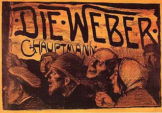 Gerhart Hauptmann - Color lithographic poster for The Weavers by Emil Orlik from 1897.