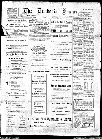 Dimboola Banner - Front page of the Dimboola Banner 13 January 1914