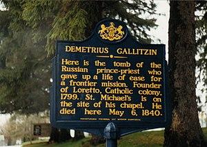 Demetrius Augustine Gallitzin - Dimitrius Gallitzin marker