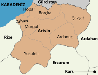 Artvin Province - Districts of the Province of Artvin.   Central district also has the same name just like most provinces in Turkey.