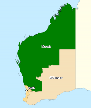 Division of Durack - Division of Durack in Western Australia, as of the 2016 federal election.
