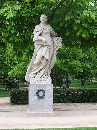 Monarchy of Spain - Statue of Queen Urraca in the Parque del Buen Retiro in Madrid. Urraca succeeded as queen in 1108, becoming Europe's second regnant female monarch after Irene I of the Byzantine Empire.