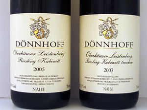 German wine classification - A bottle of Kabinett and a bottle of Kabinett trocken from the same producer and vineyard, showing how the sugar content of the finished wine may be indicated on a German wine label.