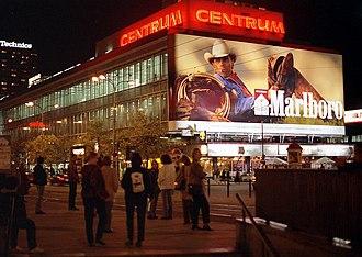 Marlboro Man - A Marlboro Man on a tobacco advertisement (Warsaw, 2000).