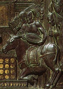 Miracolo dell'asina, dettaglio del rilievo di Donatello.