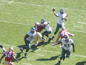 2008 Philadelphia Eagles season - McNabb about to throw a touchdown pass