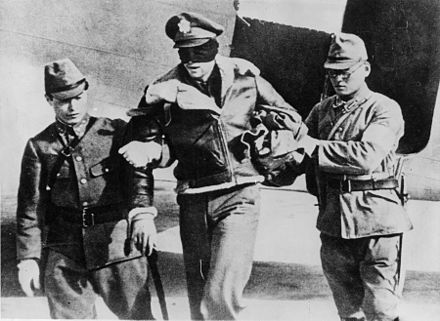 A blindfolded Doolittle Raider taken captive in 1942 Doolittle Raider RL Hite blindfolded by Japanese 1942.jpg