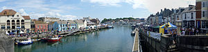 Dorset seafood festival in Weymouth panorama. ...