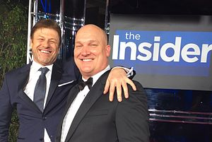 Doug Rowell with actor Sean Bean at the 2016 Golden Globes