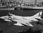 Douglas A4D-1 Skyhawk of VA-72 is loaded on USS Randolph (CVA-15) c1956.jpg