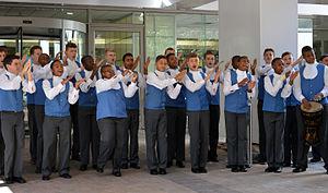 Drakensberg Boys' Choir School - The Drakensberg Boys' Choir performing at the Media24 Centre in Cape Town in 2015.
