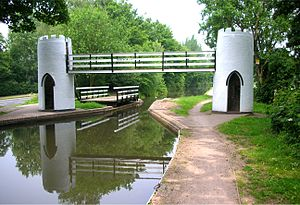 Birmingham and Fazeley Canal - The folly-like footbridge and adjacent swing bridge at Drayton Bassett, one mile from Fazeley Junction.