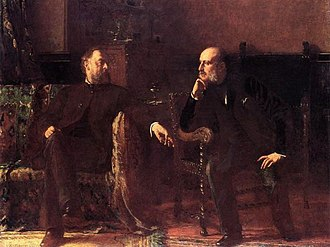 Samuel W. Rowse - Eastman Johnson, The Funding Bill also known as Portrait of Two Men, 1881. Depicts Robert W. Rutherford and Samuel W. Rowse (right).