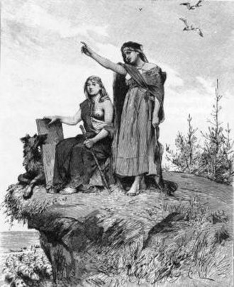 Völva - The seeress speaks her prophecy in this illustration to a 19th-century Swedish translation of the Poetic Edda.