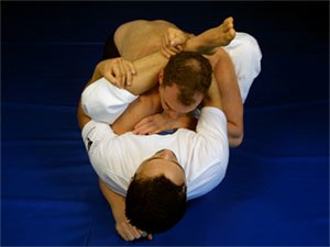 Rubber guard - one practitioner holding the other in the rubber guard grappling position