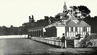 Edgbaston Cricket Ground - The Pavilion and East Stand in 1895