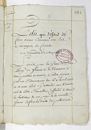 Voyageurs - Photo of the Edict that King Louis XIV passed limiting who could participate in the fur trade